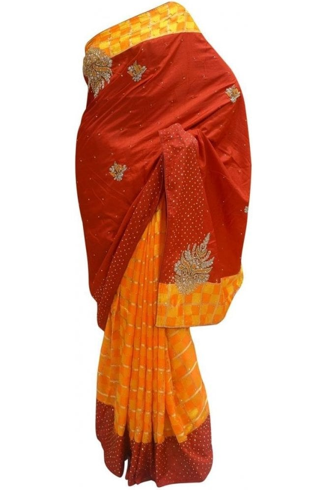 Krishna Sarees DES20067 Stylish Maroon & Mustard Yellow Party Saree