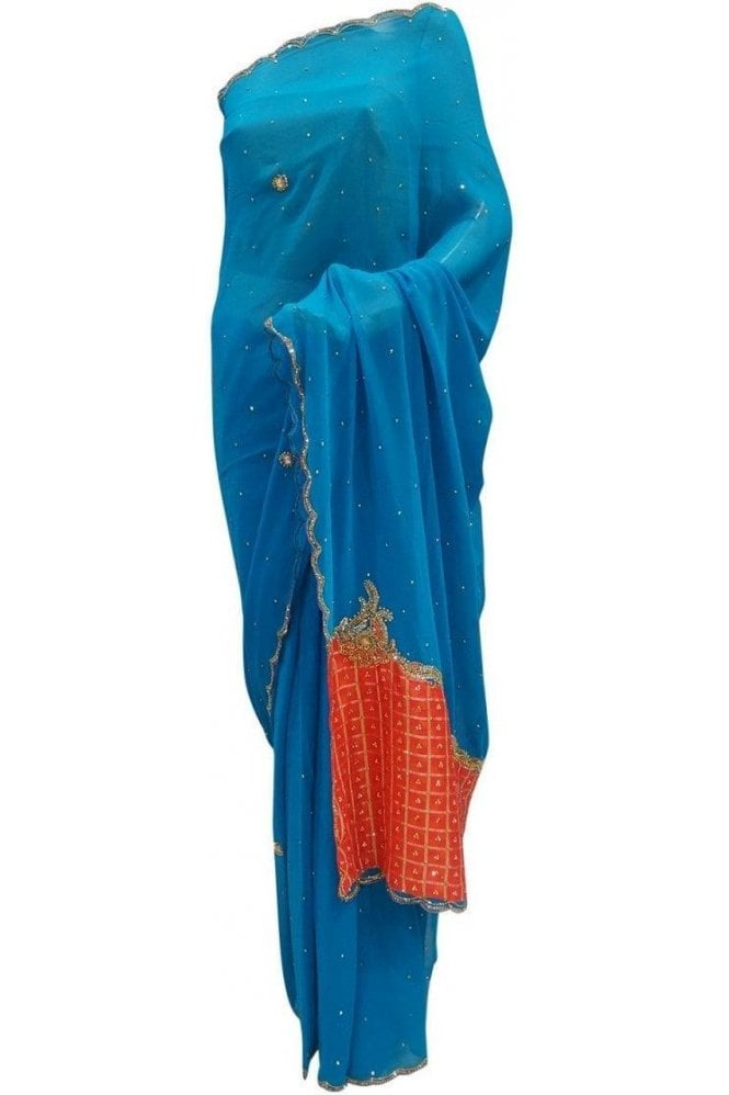 Krishna Sarees DES20071 Gorgeous Turquoise Blue & Pink Party Saree
