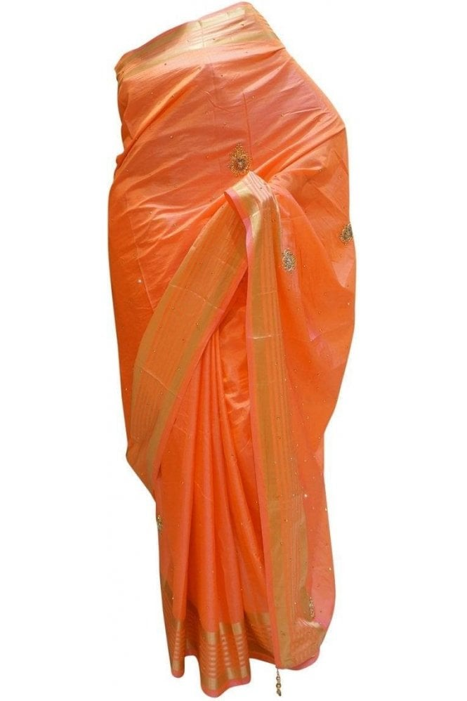 Elegant  Pink and Gold Art Silk Party Saree