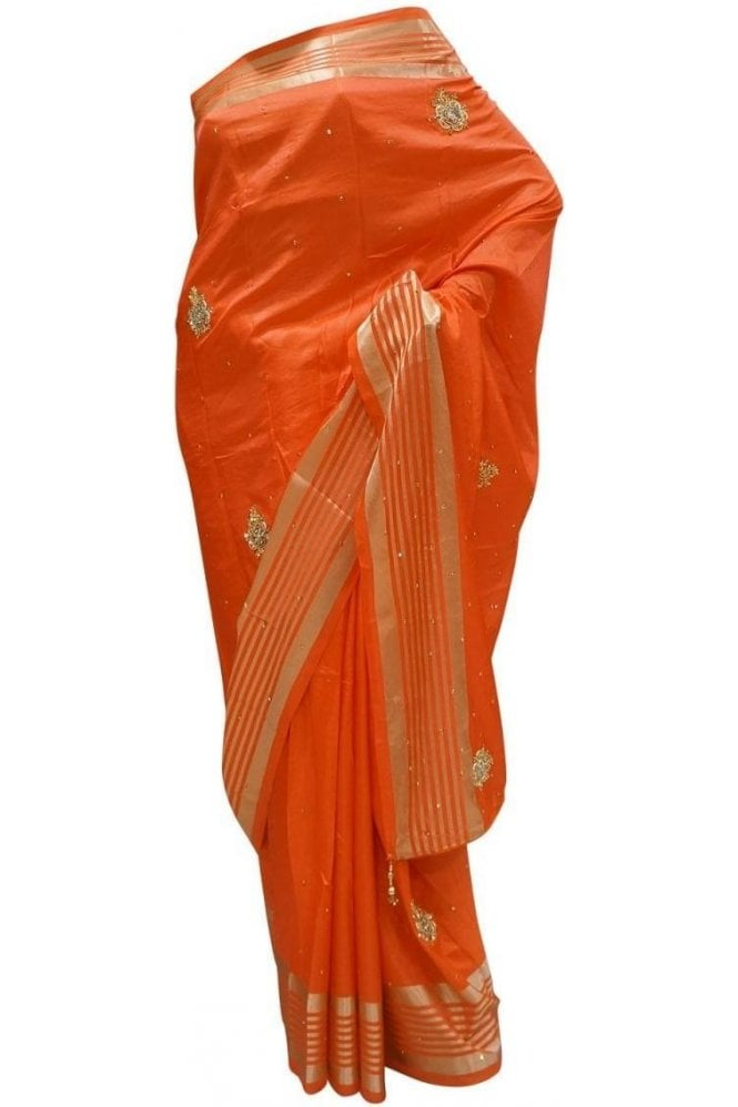 Gorgeous  Gold and Coral Red Art Silk Party Saree