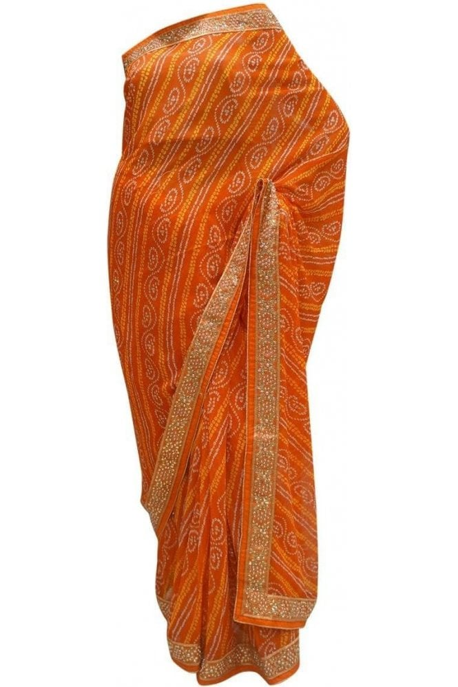 Krishna Sarees DES20098 Latest Orange & Gold Party Saree