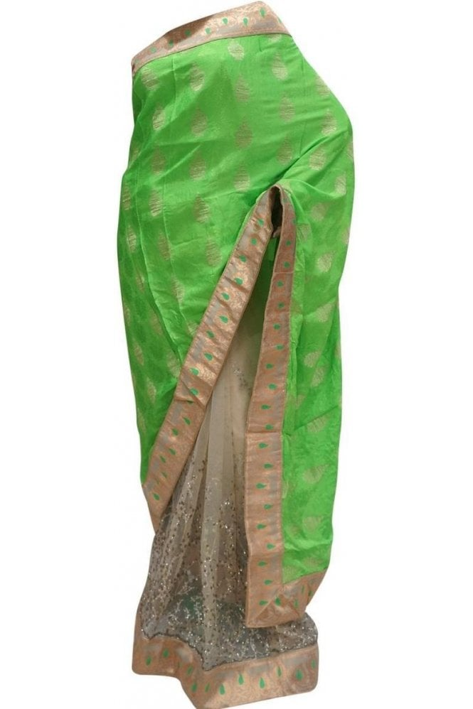 Krishna Sarees DES20099 Pleasing Green & Gold Party Saree