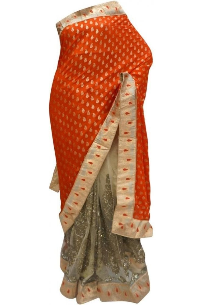 Exquisite Red and Gold Georgette & Net Party Saree