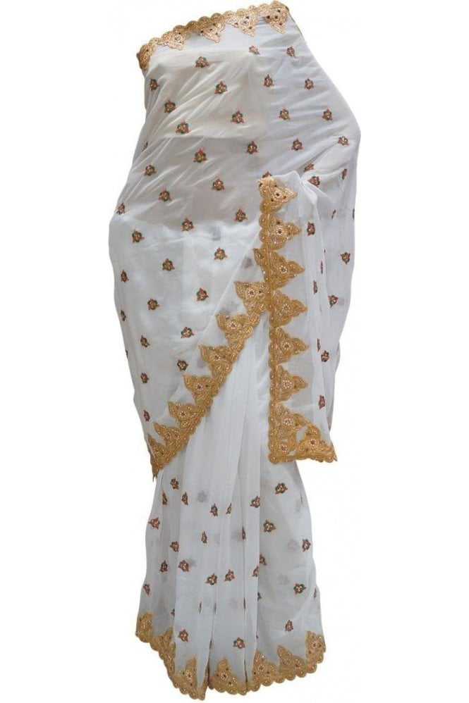 Krishna Sarees DES20108 Stylish White & Gold Party Saree