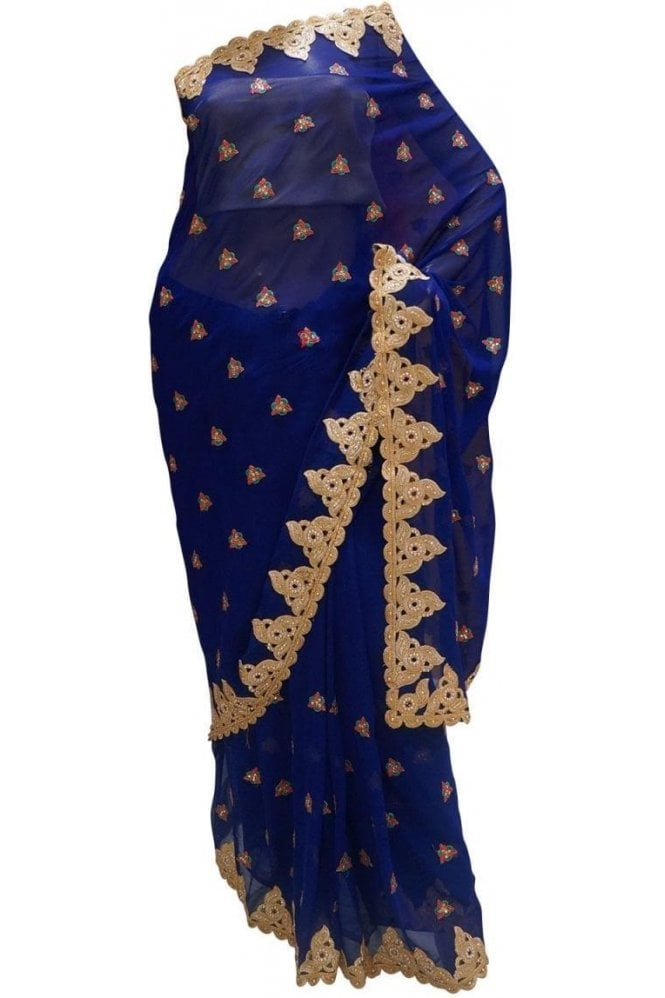 Krishna Sarees DES20110 Pleasing Blue & Gold Party Saree
