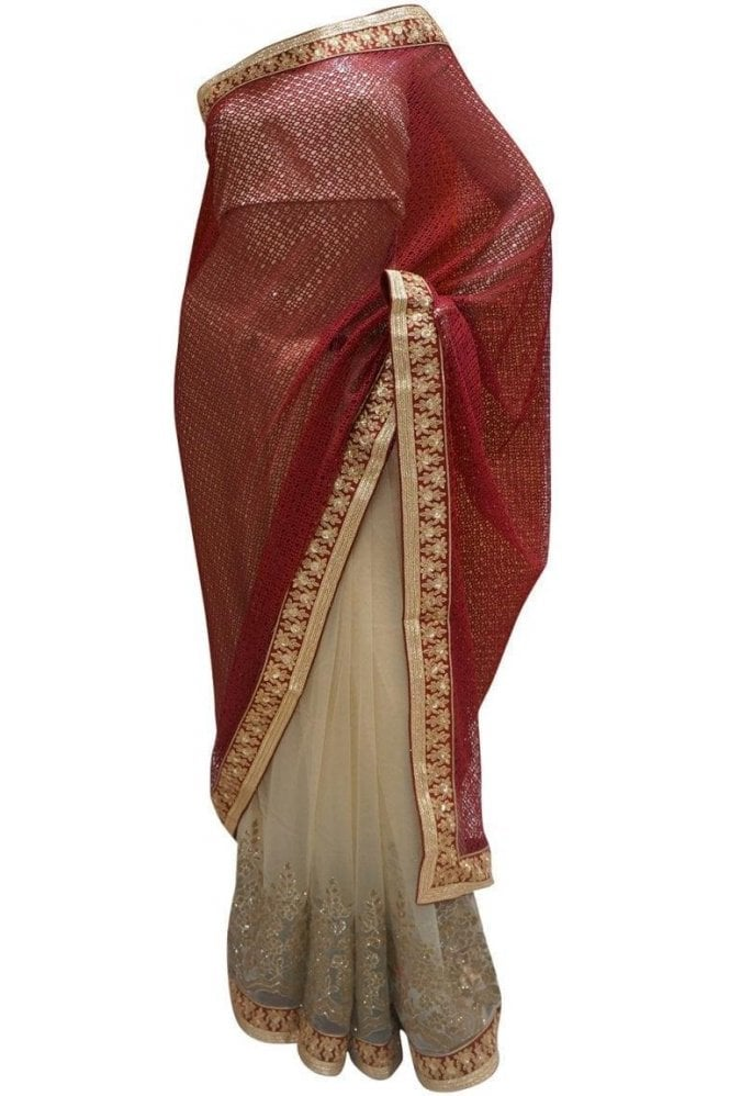 Krishna Sarees DES20114 Pleasing Burgundy & Gold Party Saree