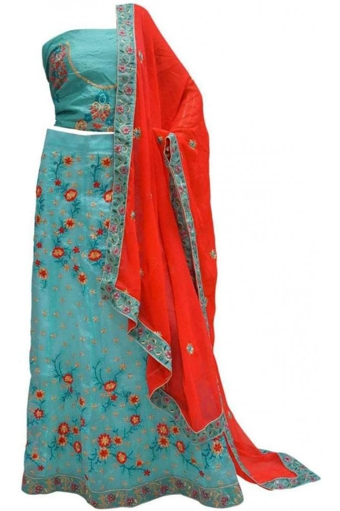 DCC20001 Stylish Blue and Coral Red Party Wear Lengha (Semi- Stitched)