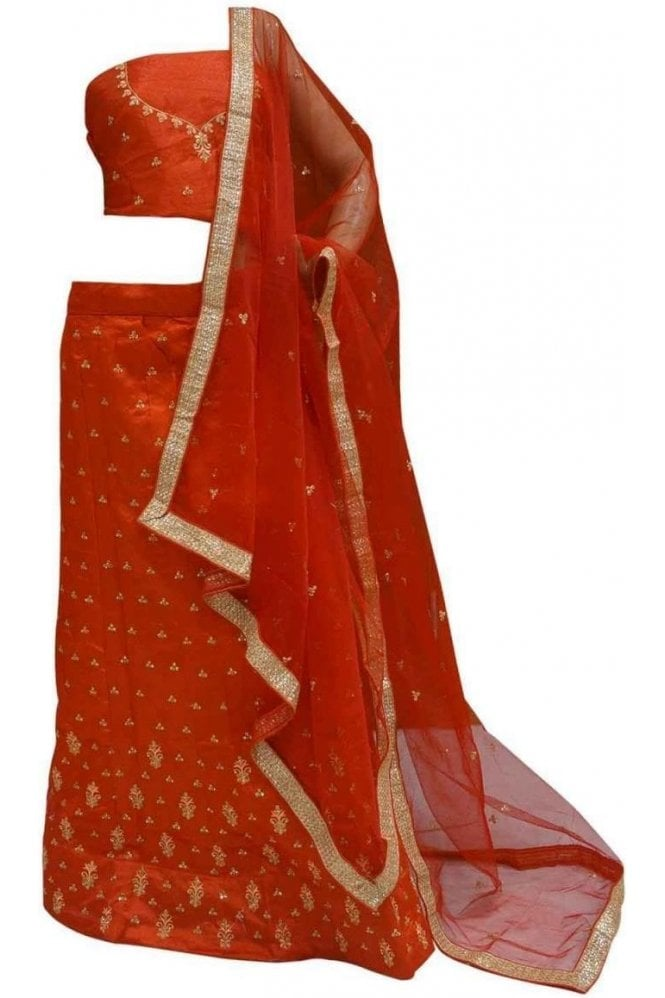 DCC20009 Beautiful  Red and Gold Party Wear Lengha (Semi- Stitched)