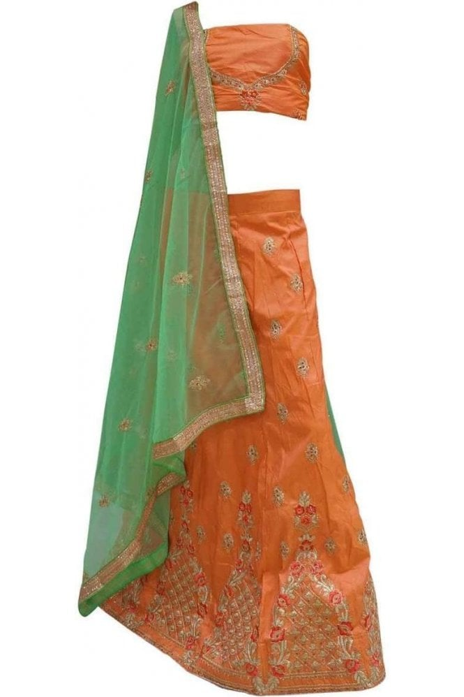 DCC20053 Exquisite Peachy Orange and Green Party Wear Lengha (Semi- Stitched)