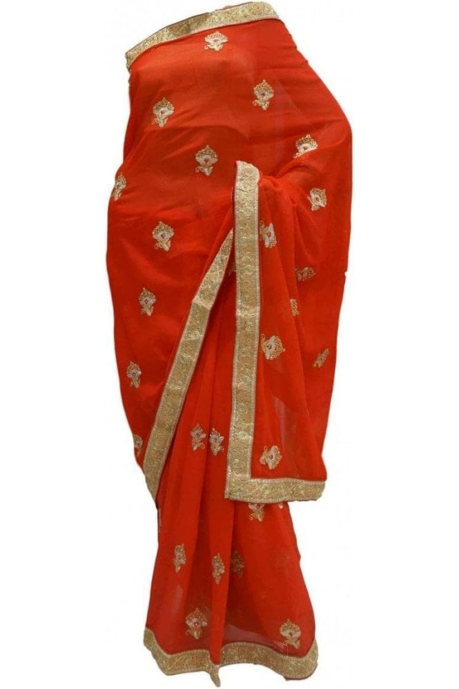Krishna Sarees DES20120 Striking Red & Gold Party Saree