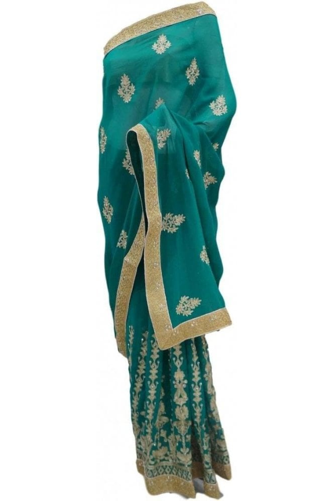 Krishna Sarees DES20123 Latest Green & Gold Party Saree