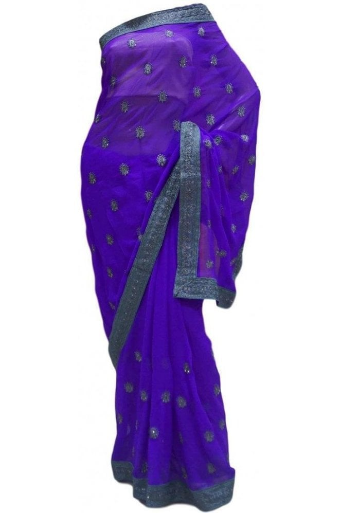 Krishna Sarees DES20173 Exquisite Purple & Silver Party Saree
