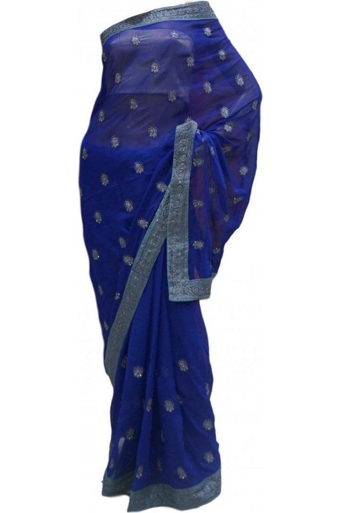 Krishna Sarees DES20177 Beautiful Navy Blue & Silver Party Saree