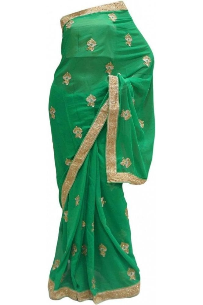 Krishna Sarees DES20183 Beautiful Green & Gold Party Saree