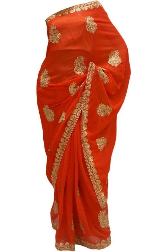 Krishna Sarees DES20199 Gorgeous Red & Gold Party Saree