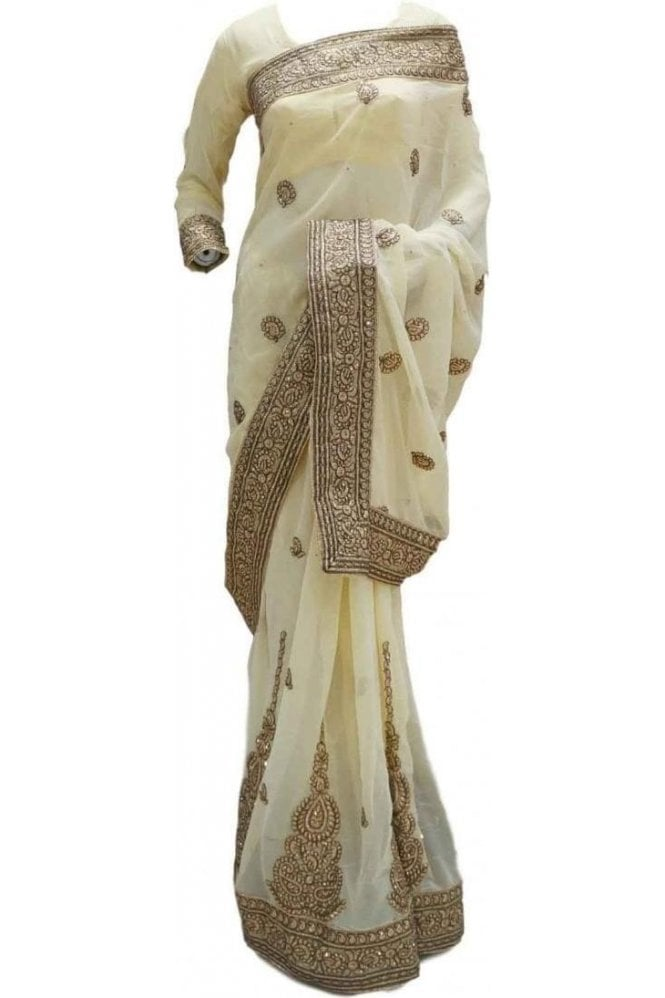 RBS20010 Cream and Gold Faux Chiffon Saree