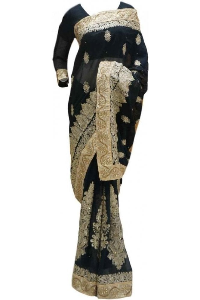 RBS20030 Black and Gold Faux Chiffon Saree
