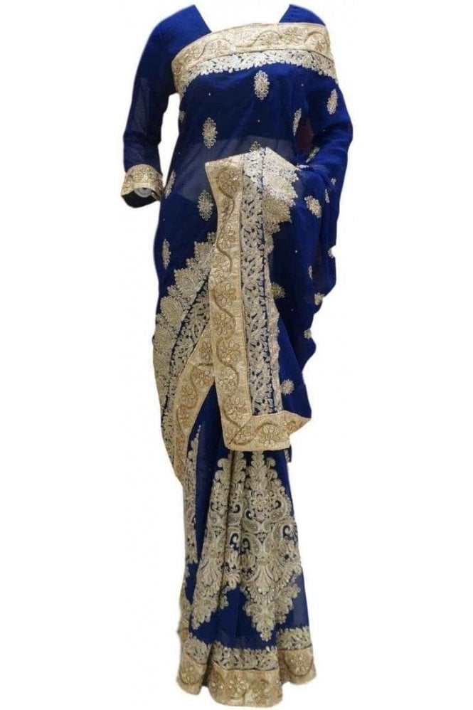 RBS20032 Navy Blue and Gold Faux Chiffon Saree