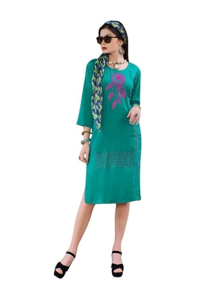 KUR19014 Elegant  Green and Pink Elegant Designer Kurti Tunic Dress