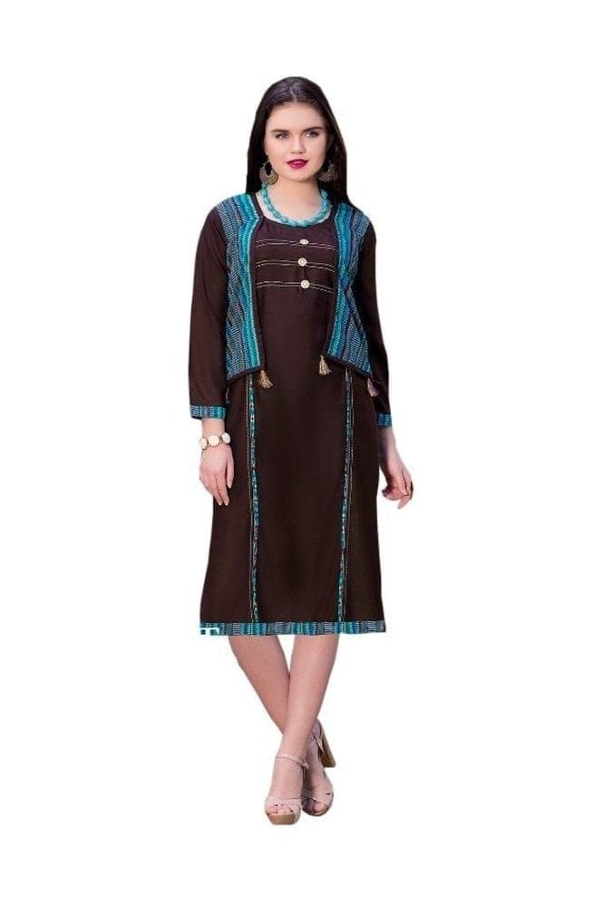 KUR19025 Elegant Brown and Blue Elegant Designer Kurti Tunic Dress with Printed Waistcoat