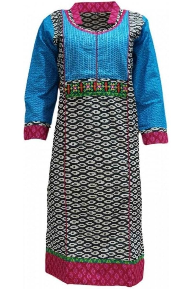 KUR19044 Stunning Black and Blue Stunning Designer Kurti Tunic Top Dress