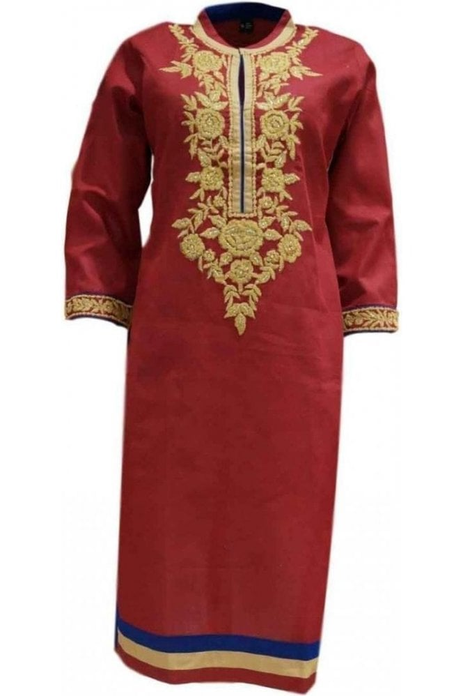 KUR19055 Gorgeous  Red and Cream Gorgeous  Designer Kurti Tunic Top Dress