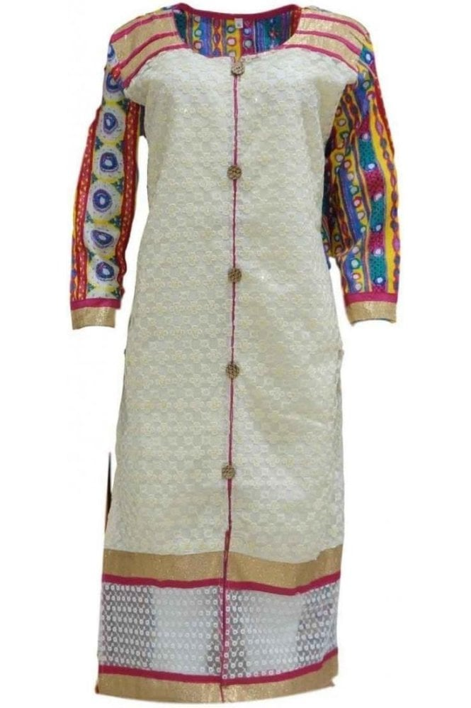 KUR19085 Exquisite White and Pink Exquisite Designer Kurti Tunic Top Dress