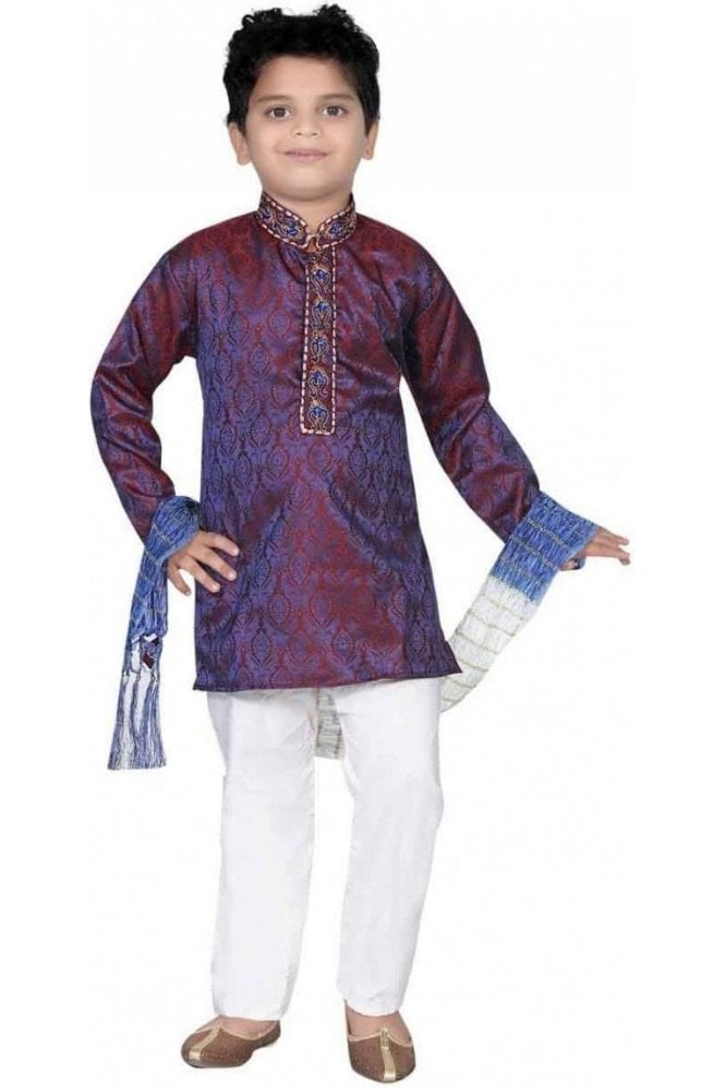BYK20013 Purple Blue and Ivory 3 Piece Boy's Kurta Pyjama with matching Scarf