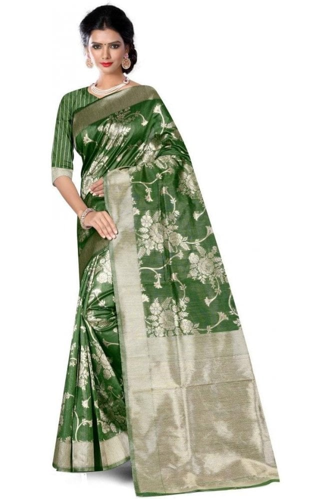 Krishna Sarees FAS20012 Green and Gold Banarasi Silk Party Saree