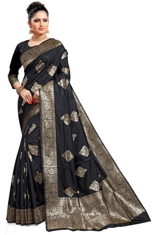 Krishna Sarees FAS20081 Black and Gold Banarasi Silk Party Saree