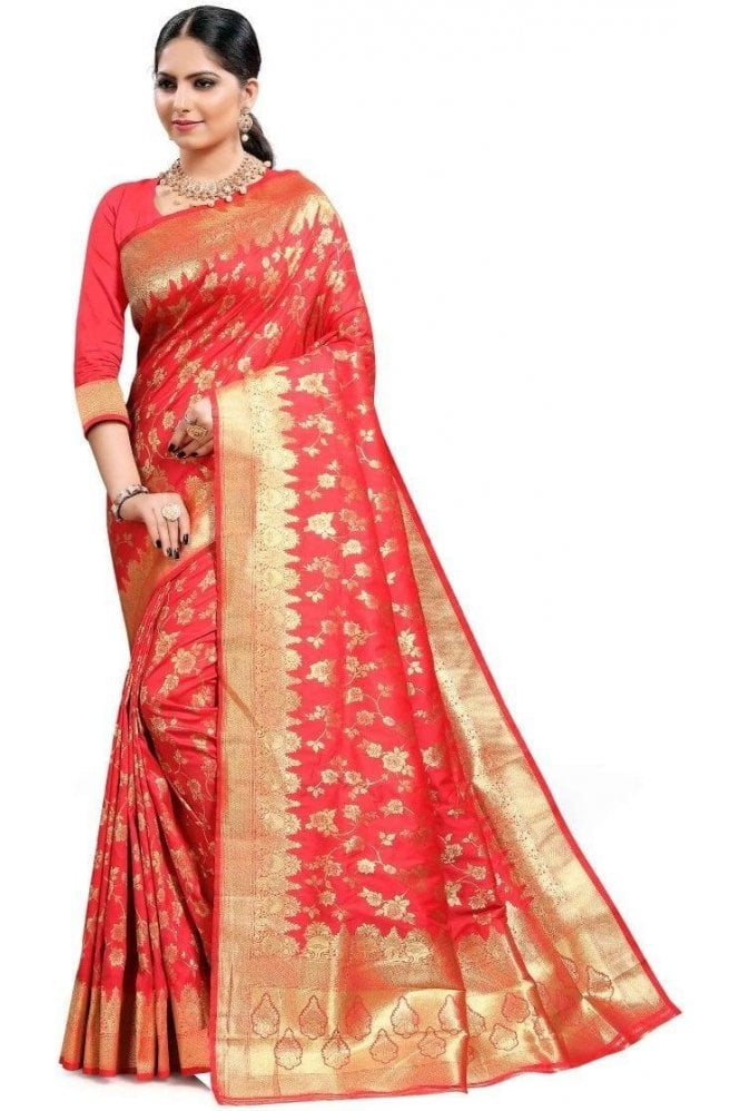 Krishna Sarees FAS20156 Pink and Gold Banarasi Silk Party Saree