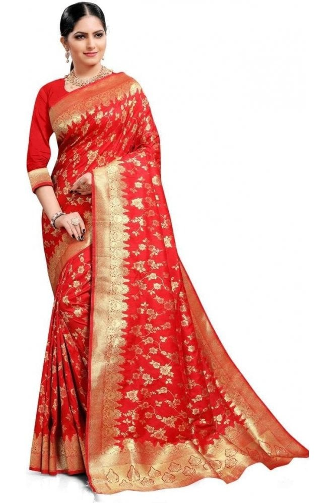 Krishna Sarees FAS20158 Red and Gold Banarasi Silk Party Saree
