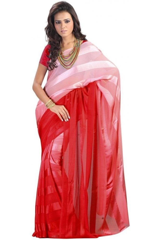 Elegant Red Satin Georgette Saree with Matching Unstitched Blouse Piece