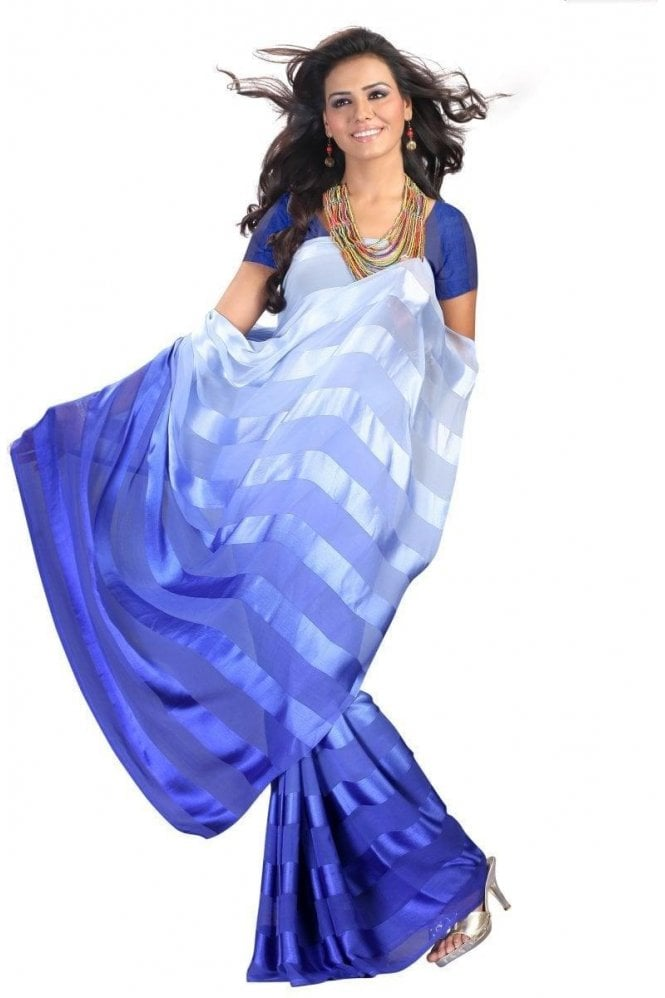Gorgeous Blue Satin Georgette Saree with Matching Unstitched Blouse Piece