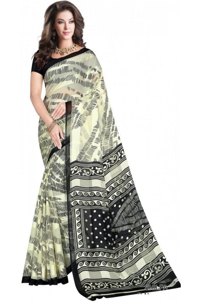 Gorgeous Black and Cream Chiffon Geogette & Satin Silk Saree with Matching Unstitched Blouse Piece
