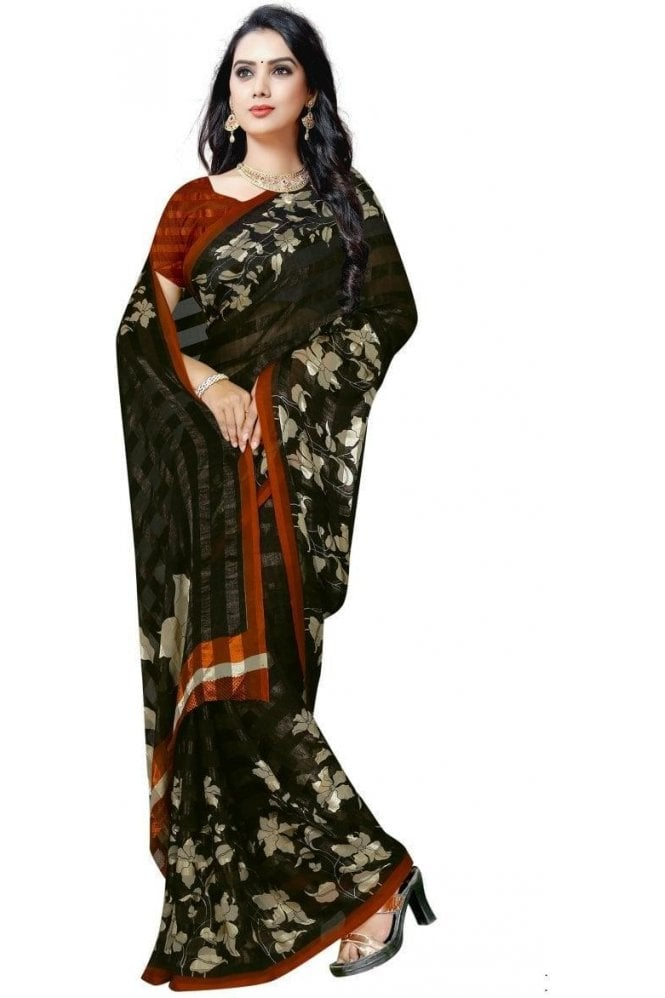 Elegant Black and Mustard Yellow Chiffon Geogette & Satin Silk Saree with Matching Unstitched Blouse Piece