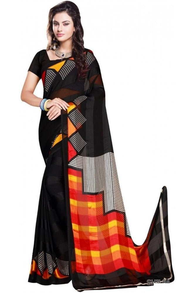 Krishna Sarees PPS20057 Black and Red Check Printed Chiffon Geogette & Satin Silk Saree