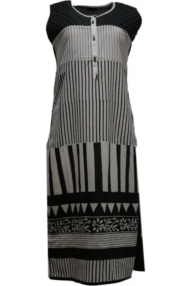 KUR20022 Stunning Cream and Black  Kurti Tunic Top Dress