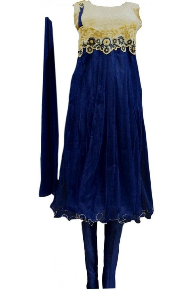 WCS20021 Navy Blue and Gold Designer Churidar Suit