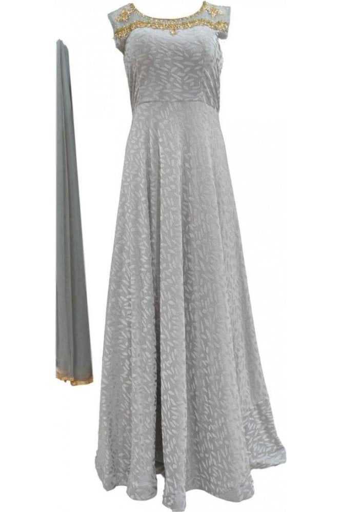 WPD20029 Grey and Gold Designer Churidar Suit Gown