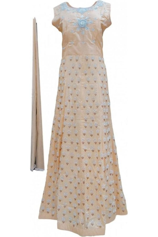 WPD20036 Light Peach and White Designer Churidar Suit Gown