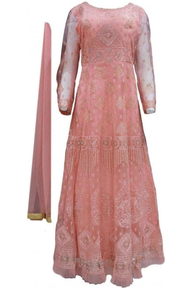 WPD20040 Light Pink and Gold Designer Churidar Suit Gown
