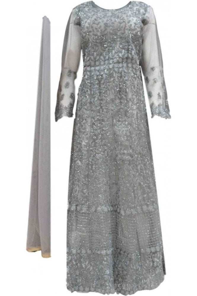 WPD20050 Grey and Sliver Designer Churidar Suit Gown