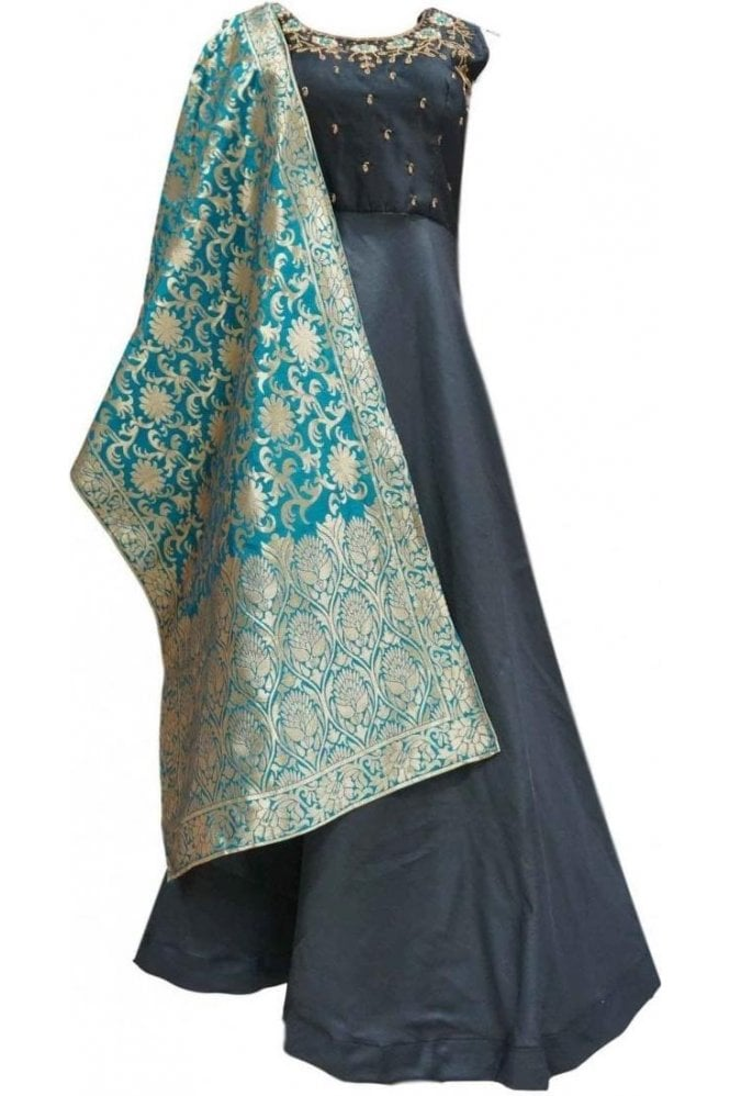 WPD20001 Black and Green Designer Churidar Suit Gown