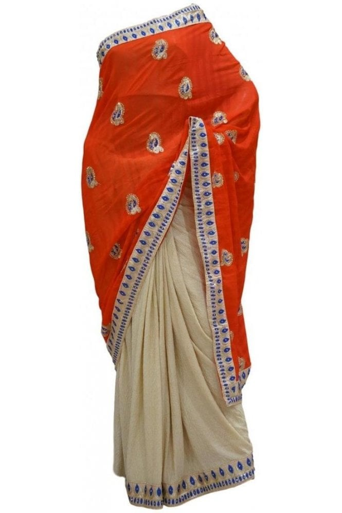 Krishna Sarees DES20304 Beautiful Red & Blue Party Saree