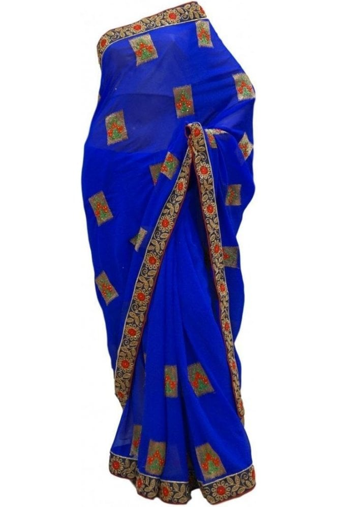 Elegant  Blue and Gold Georgette Party Saree