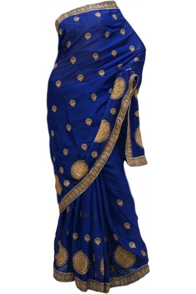 Gorgeous  Gold and Navy Blue Art Silk Party Saree