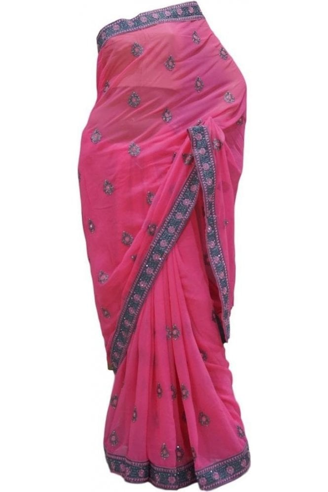 Krishna Sarees DES20351 Eye Catching Pink & Grey Party Saree