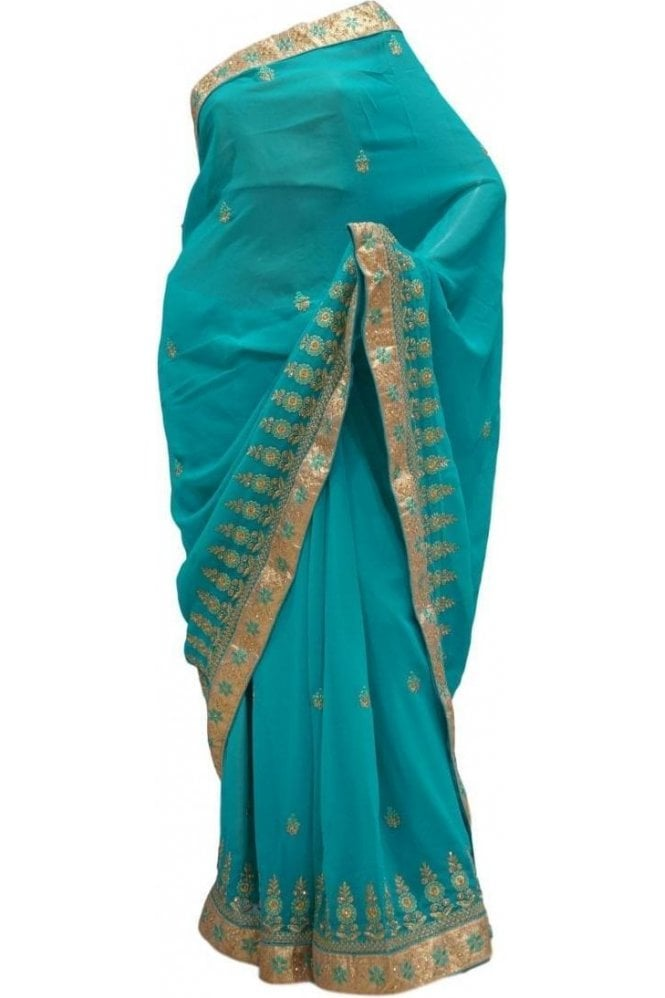 Krishna Sarees DES20301 Elegant Sea Green & Gold Party Saree