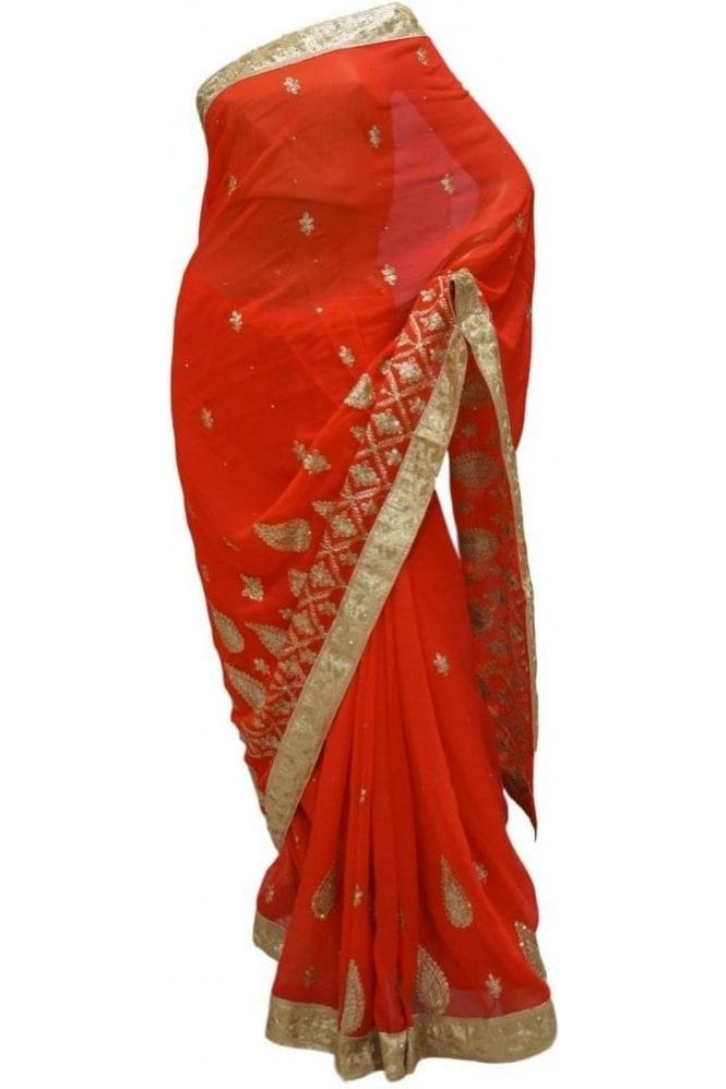 Exclusive Red, Pink and Gold Georgette Party Saree